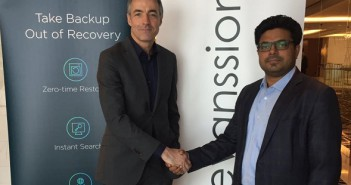 (L-R) Karl Driesen, Head of EMEA Sales, Rubrik with Dilip Kalliyat, President of Evanssion
