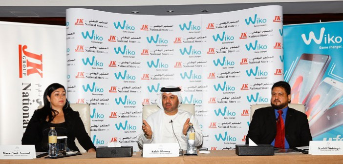 (L-R) Marie Paule Arnaud, Regional Director Wiko, East and West Africa; Salah Khoory, GM, National Store JK Group and Kashif Siddiqui, Head of Sales Wiko UAE